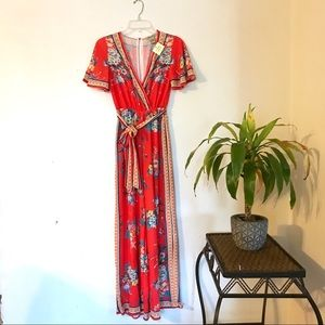 Flying Tomato Red Floral Boho Jumpsuit